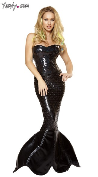 Mistress Mermaid Costume, Black Mermaid Costume, Mermaid Halloween Costume