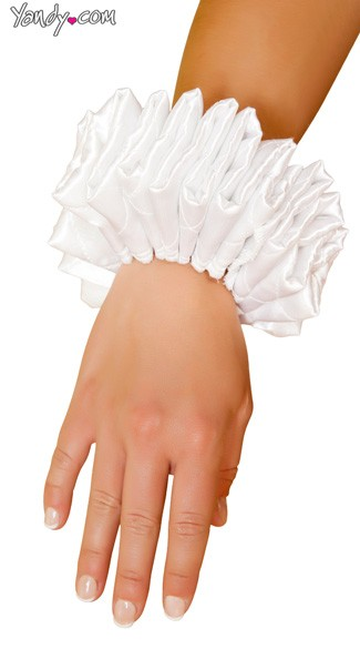 White Ruffled Jester Cuffs, Ruffled Wrist Cuffs, Jester Costume Cuffs