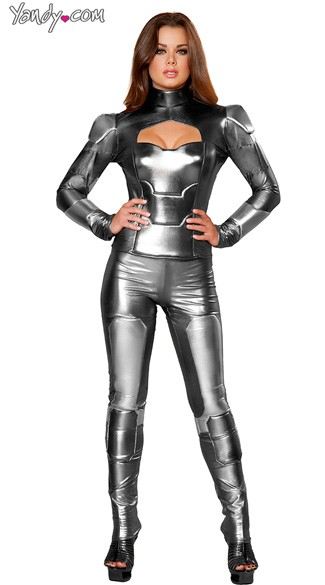 Mechanical Maiden Costume, Metal Superhero Costume, Movie Superhero Costume