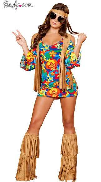 Hippie Hottie Costume, Rainbow Hippie Costume, Fringe Hippie Costume