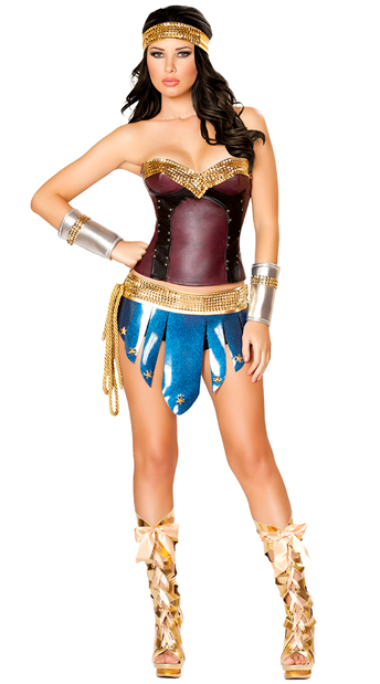 Deluxe Vintage Warrior Woman Costume, Adult Warrior Costume, Deluxe Wonder Girl Costume