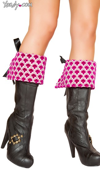 Pink Pirate Boot Cuffs, Pink Boot Toppers