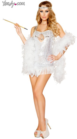 Sexy Silver Flapper Costume, Sequin Flapper Costume, Femme Fatale Flapper Costume