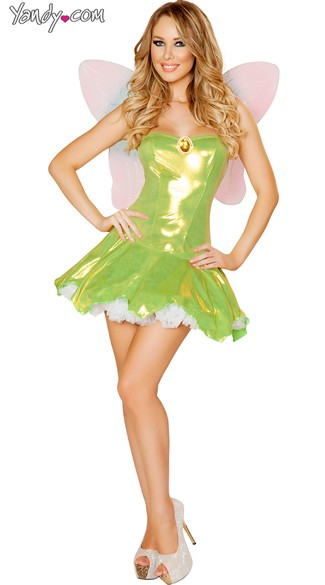Adult Green Fairy Costume, Sequin Fairy Costume, Feisty Fairy Costume