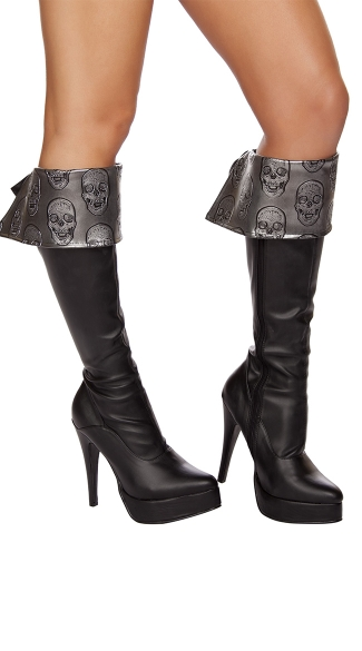 Skull Embroidered Boot Cuffs