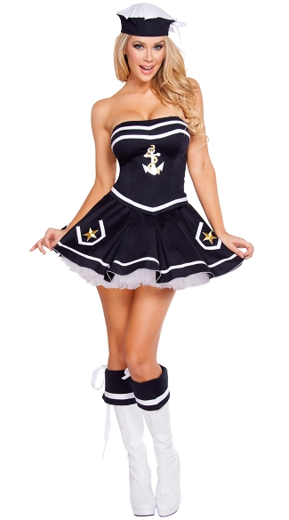 Naughty Navy Yard Vixen Costume, Sexy Sailor Costume, Military Costume