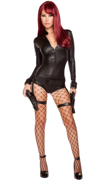 Hot Hitwoman Costume, Sexy Assassin Costume, Sexy Romper Costume