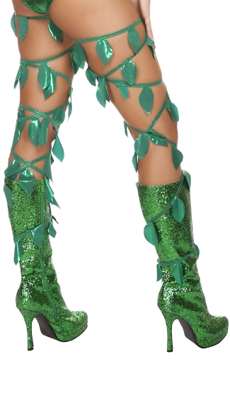 Green Leaf Thigh Wraps, Poison Ivy Vines, Poison Ivy Halloween Costume