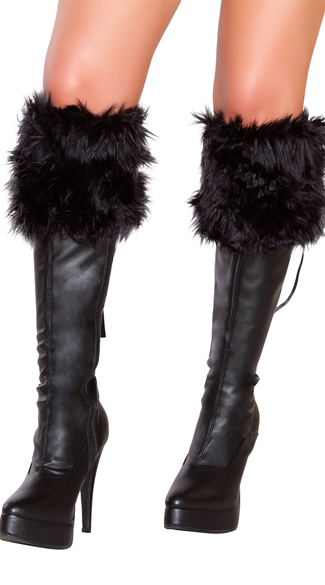 Black Faux Fur Boot Cuffs