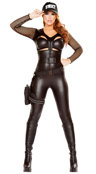 Squad Leader Babe Costume, Sexy SWAT Costume, Sexy Cop Costume