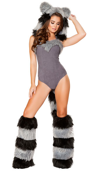 Flirty Furry Raccoon Costume, Sexy Raccoon Costume, Raccoon Romper Costume