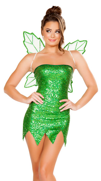Mischievous Fairy Costume, Sexy Green Fairy Costume, Sequin Fairy Costume