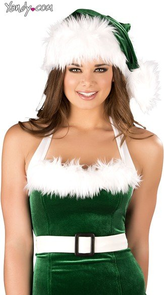 Green and White Santa Hat, Sexy Fur Trimmed Santa Hat