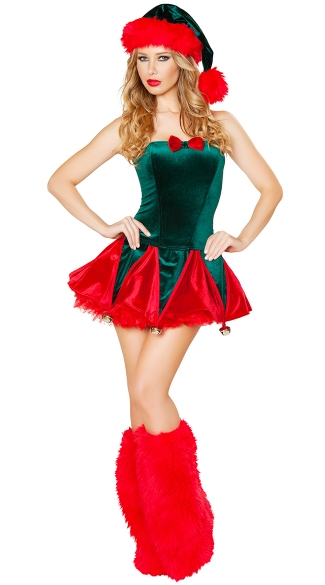 Naughty Elf Costume, Green and Red Elf Costume, Adult Sexy Elf Costume