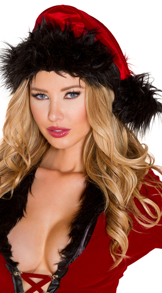 Dark Santa Hat, Fur Trimmed Santa Hat, Black Santa Hat