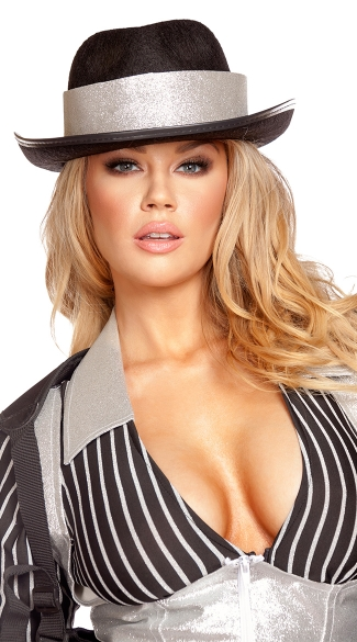 Gangster Hat with Silver Trim, Gangster Hat, Black Hat