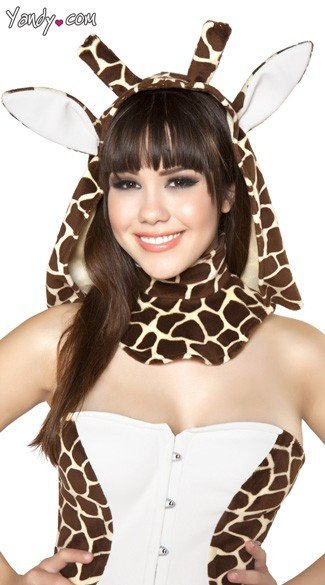 Giraffe Hood, Animal Hood, Faux Fur Hood