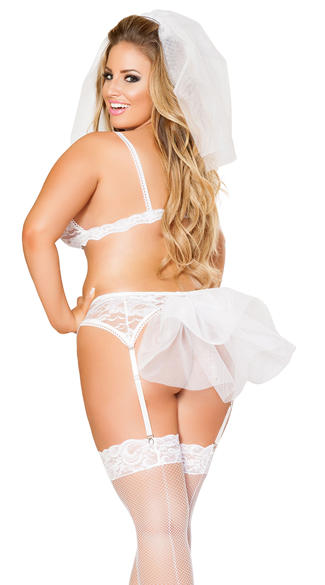 Plus Size Four-Piece Naughty Bride Bralette Set