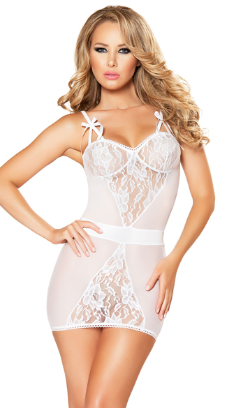 Two-Piece Lace Chemise and G-String Set