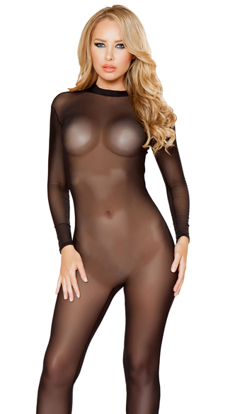 Sheer Long Sleeve Bodystocking, Sheer Bodystocking Lingerie, Nylon Bodysuit