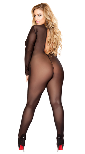 Plus Size Sheer Long Sleeve Bodystocking