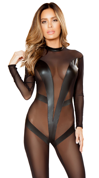 Sheer Catsuit With V-detail