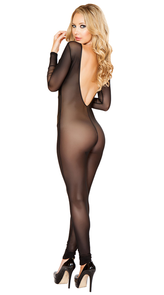 Sheer Catsuit With Detailed Patches