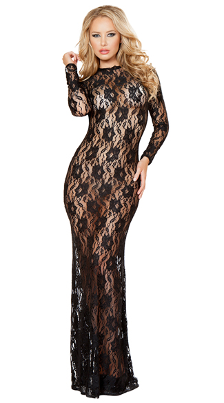 Draped in Lace Dress, Long Lace Dress, Floor Length Lace Dress