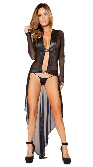 Decadent Sheer Robe and G-String, Sexy Sheer Robe, Long Black Robe