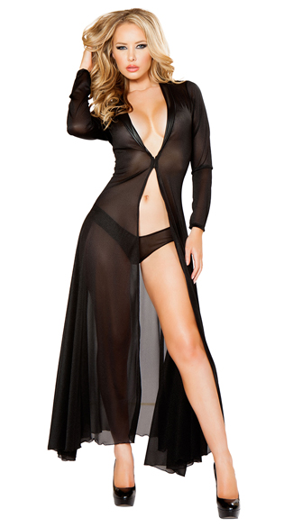 Radiant Long Sleeve Robe and Panty, Lingerie Robe, Sexy Sheer Robe