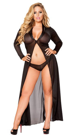 Plus Size Radiant Long Sleeve Robe and Panty