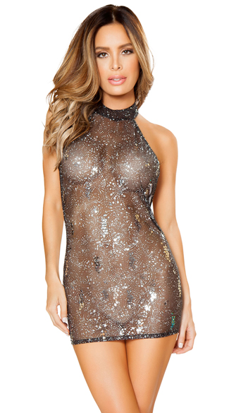 Sheer Glittery Mesh Dress, Sheer Mini Dress, Glitter Mini Dress