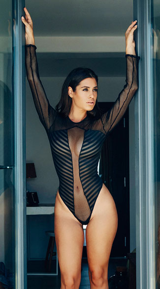 Long Sleeve Striped Mesh And Fishnet Bodysuit Sexy Long