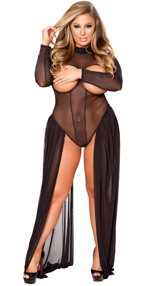 Plus Size Dramatic Mesh Cupless Long Sleeve Teddy, Sexy Plus Size Dramatic Mesh Cupless Long Sleeve Teddy, plus size cupless teddy, plus size sexy cupless teddy, plus size long sleeve teddy, plus size mesh teddy