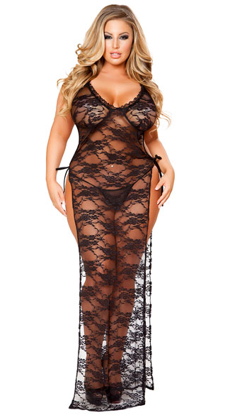Plus Size Sultry Lace Side Tie Lingerie Gown, Plus Size Sexy Sultry Lace Side Tie Lingerie Gown, plus size lingerie gown, plus size sexy lingerie gown, plus size lace lingerie gown, plus size sexy lace lingerie gown, plus size black lace lingerie gown, plus size sexy black lace lingerie gown, plus size lace lingerie gown, plus size sexy lace lingerie gown