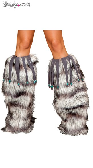 Furry Grey Legwarmers With Beaded Fringe, Grey Leg Warmers, Gray Fur Legwarmers