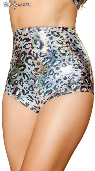 Silver Leopard High Waisted Shorts, Animal Print Shorts, Metallic Shorts, Leopard Print Shorts