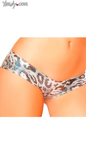 Silver Leopard Low Rise Short, Animal Print Booty Short, Metallic Booty Short, Leopard Print Booty Short