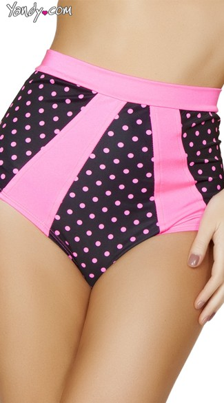 Black and Pink High Waisted Pinup Shorts, Pink Polka Dot Shorts