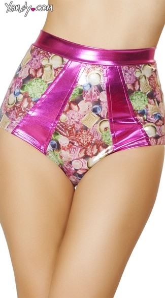Metallic Pink High Waisted Shorts, Pink Patterned Shorts