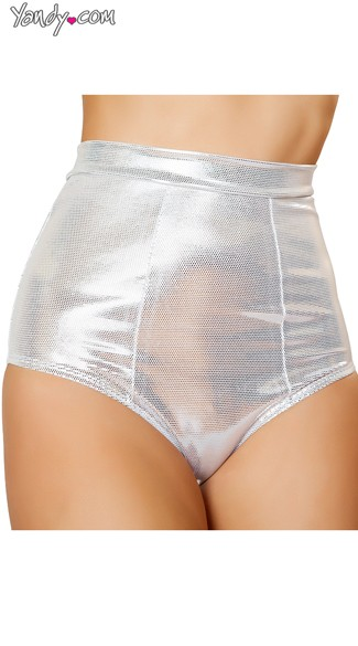 Silver Metallic High Waisted Shorts, Silver Shorts