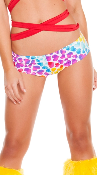 Heart Print Low Rise Shorts