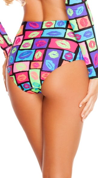 Neon Lips High Waisted Shorts
