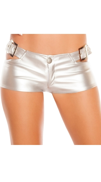 Buckle Leatherette Booty Shorts, Faux Leather Booty Shorts, Metallic Leather Booty Shorts