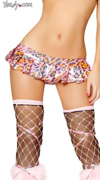 Metallic Pink Leopard Pleated Mini Skirt Leopard Print