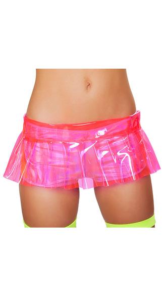Pink Vinyl Skirt, Sheer Pink Skirt, Vinyl Skirt