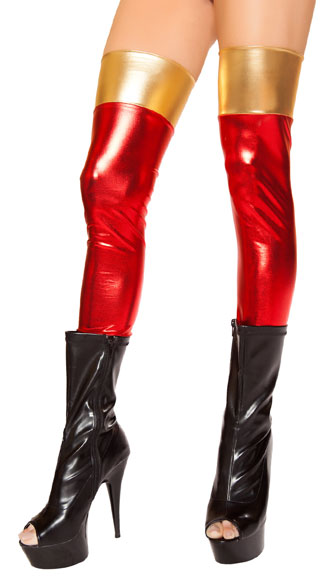 Red and Gold Metallic Leggings, Metallic Thigh Highs, Red and Gold Thigh Highs