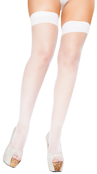 Plus Size White Fishnet Thigh Highs, Plus Size White Thigh Highs, Plus Size Opaque Top Thigh Highs