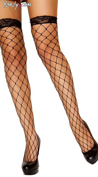 Thigh High Black Fishnet Stocking with Lace Top