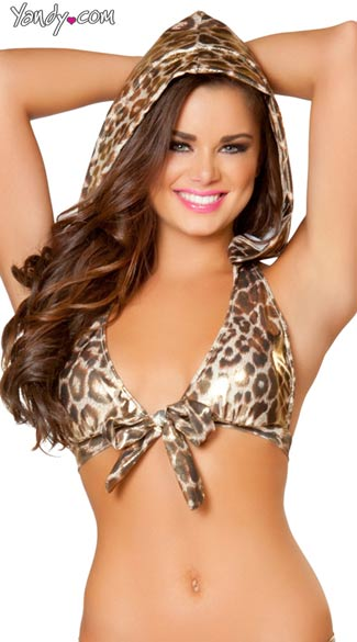 Leopard Print Top with Removable Hood